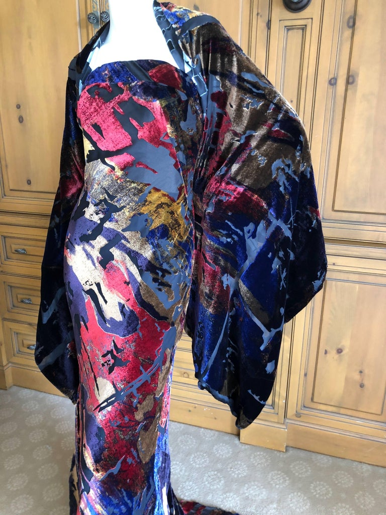 Christian Lacroix Devore Velvet Vintage Evening Dress with Train and Shawl  In Excellent Condition For Sale In San Francisco, CA