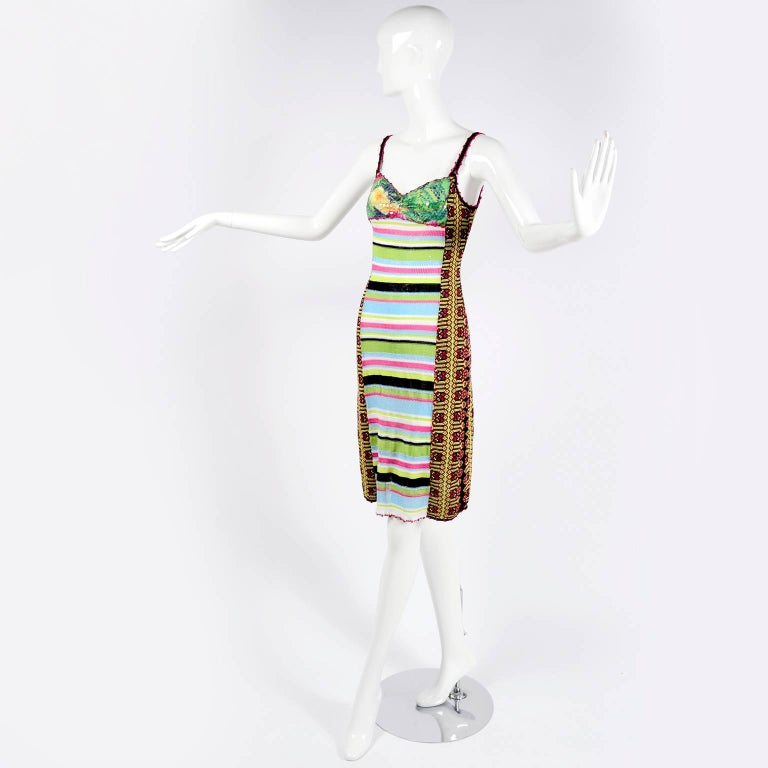 Christian Lacroix Dress in Colorful Stretch Knit With Sequins Size Medium For Sale 6