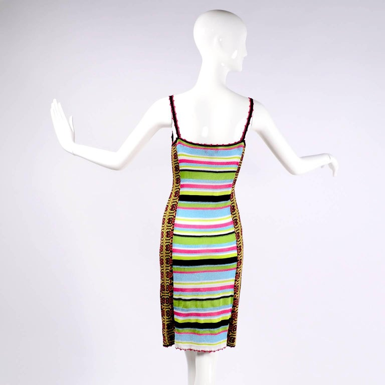 Christian Lacroix Dress in Colorful Stretch Knit With Sequins Size Medium In Excellent Condition For Sale In Portland, OR