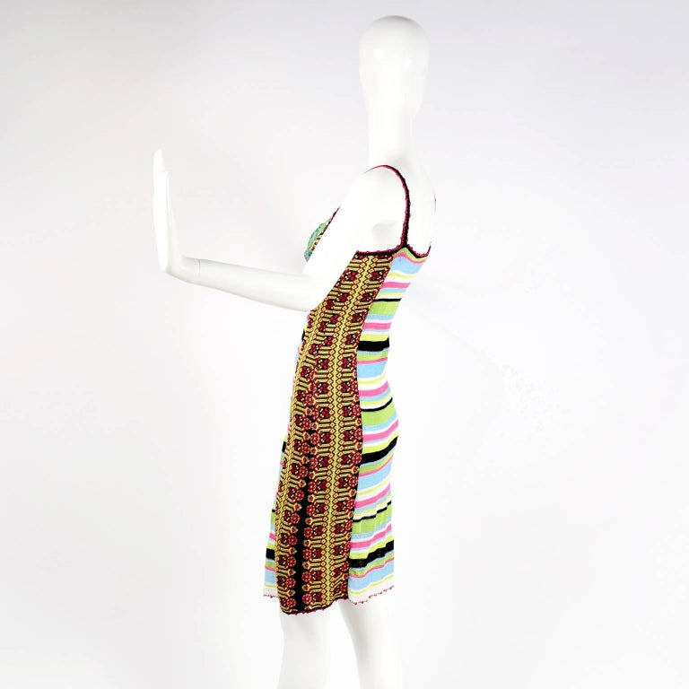Christian Lacroix Dress in Colorful Stretch Knit With Sequins Size Medium For Sale 3