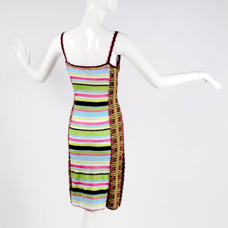 Christian Lacroix Dress in Colorful Stretch Knit With Sequins Size Medium For Sale 4