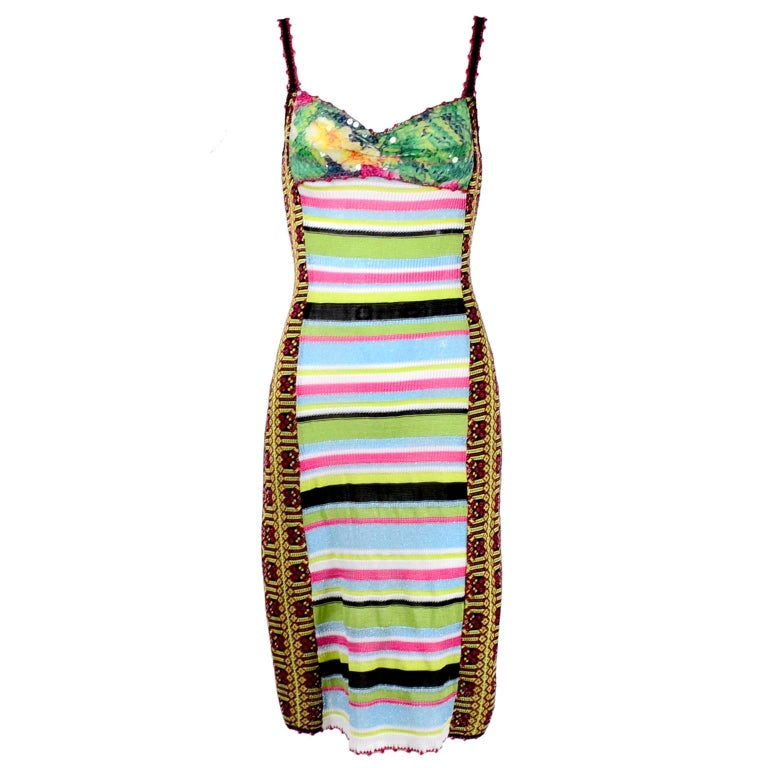 Christian Lacroix Dress in Colorful Stretch Knit With Sequins Size Medium For Sale