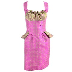 Christian Lacroix Dress in Pink & Green Polka Dots W/ Peplum & Gathered Bust