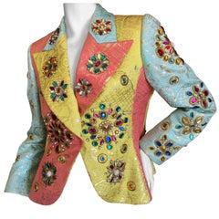 Christian Lacroix Exuberant Vintage Jeweled Silk Blazer
