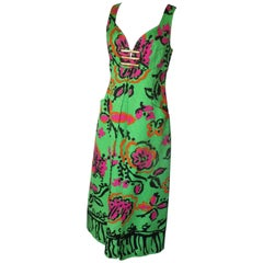 Christian Lacroix  Floral Apple Green Cocktail Summer Gown Dress