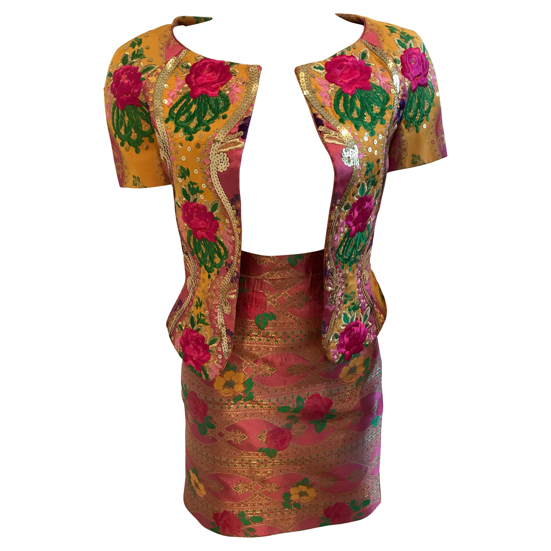 Christian Lacroix Floral Embroidered & Embellished Jacket & Skirt Ensemble