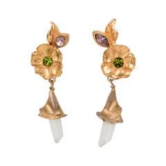 Christian Lacroix Floral Gilt Metal Jeweled Dangle Clip Earrings