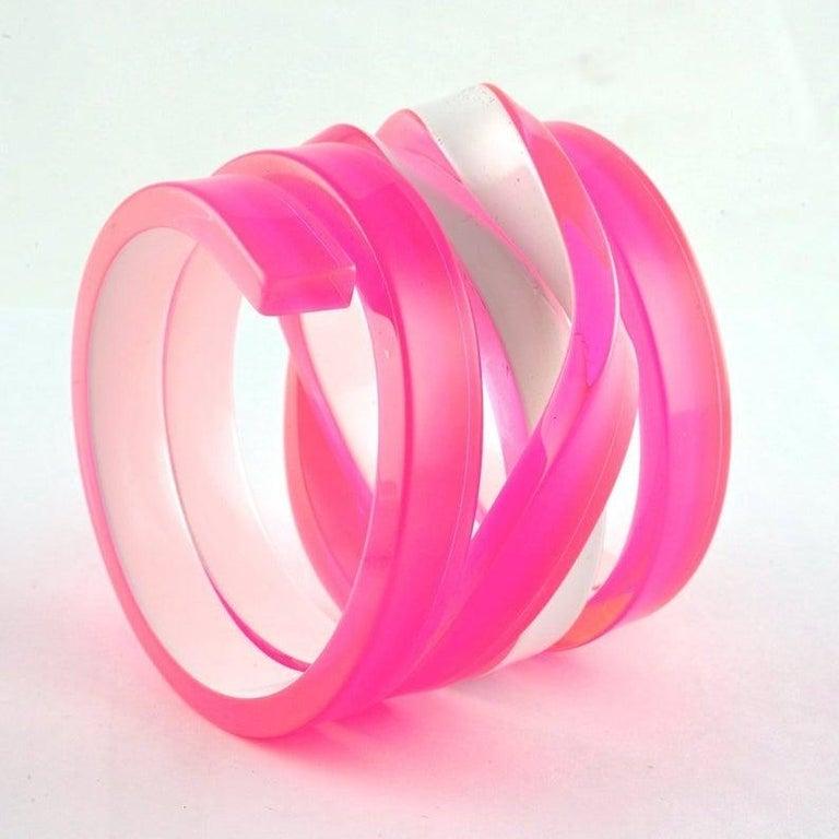 Women's CHRISTIAN LACROIX Fluorescent Space Age Futuristic Plexiglas Wide Cuff Bracelet For Sale