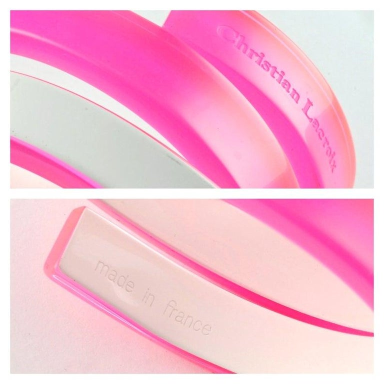 CHRISTIAN LACROIX Fluorescent Space Age Futuristic Plexiglas Wide Cuff Bracelet For Sale 2