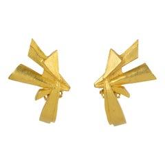 Christian Lacroix Futurist Gilt Metal Clip Earrings