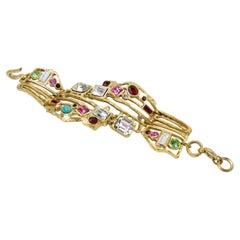 Christian Lacroix Gilt Metal Brutalist Jeweled Link Bracelet