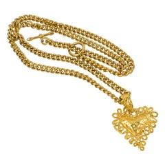 Christian Lacroix Gilt Metal Heart Pendant Necklace