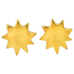 Christian Lacroix Gilt Metal Sun Clip Earrings