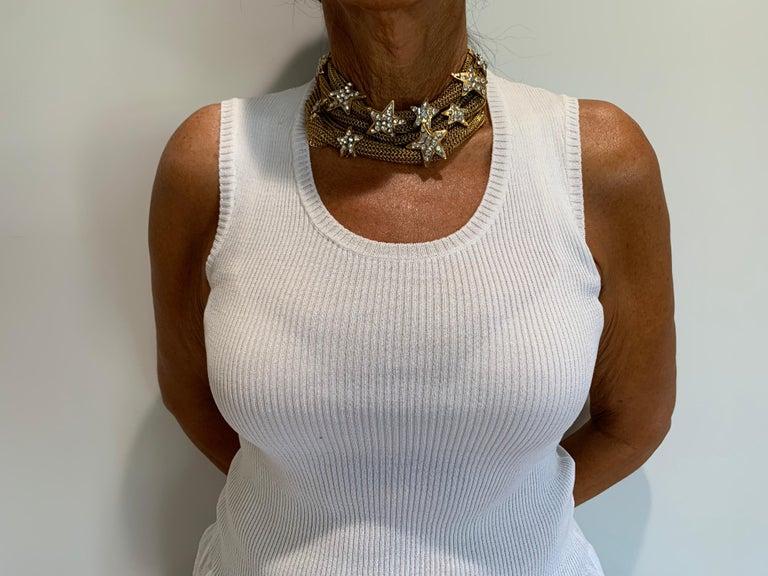 Artisan Christian Lacroix Gilt Star Diamante Statement Necklace  For Sale