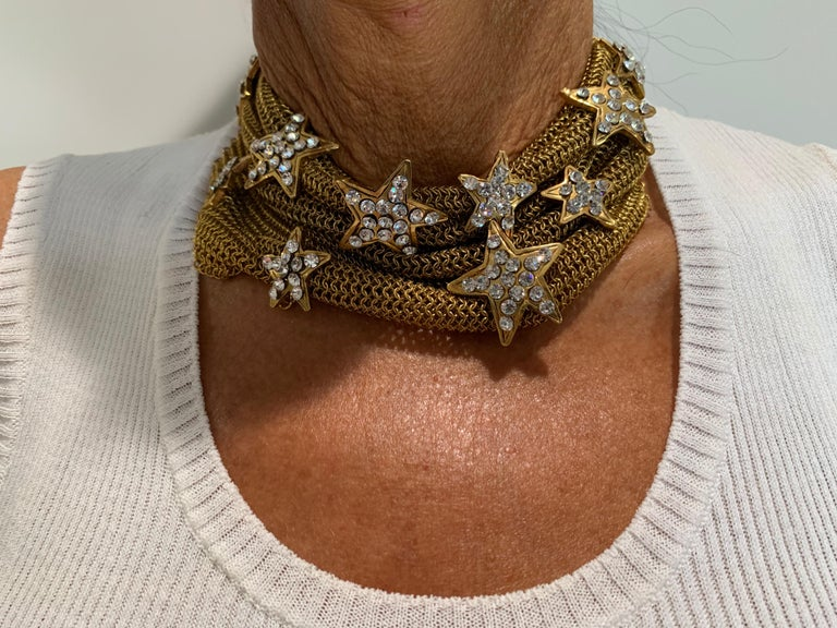 Christian Lacroix Gilt Star Diamante Statement Necklace  In Excellent Condition For Sale In Palm Springs, CA