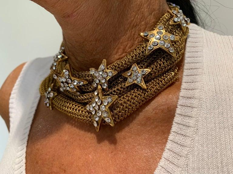 Women's Christian Lacroix Gilt Star Diamante Statement Necklace  For Sale