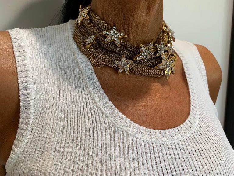 Christian Lacroix Gilt Star Diamante Statement Necklace  For Sale 1
