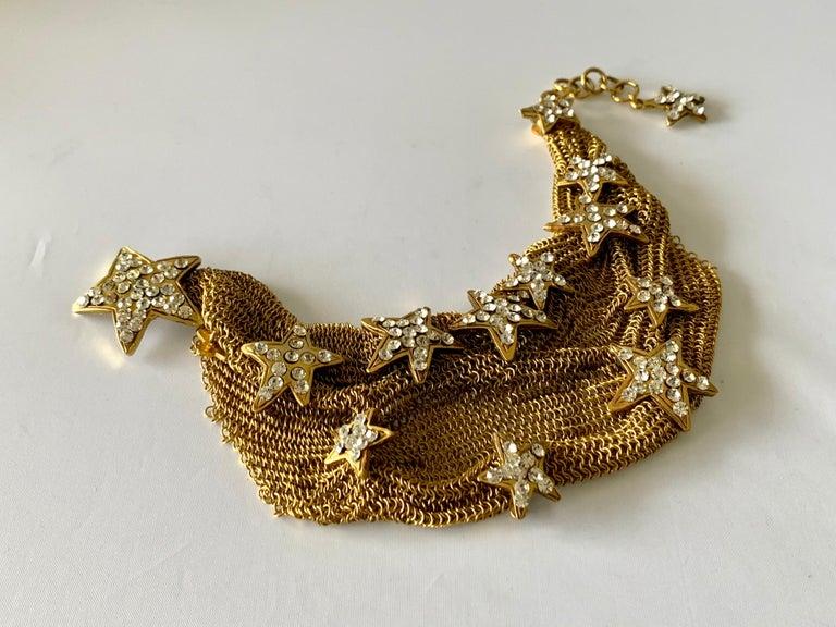 Christian Lacroix Gilt Star Diamante Statement Necklace  For Sale 3