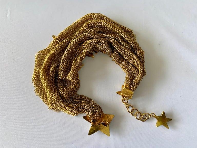 Christian Lacroix Gilt Star Diamante Statement Necklace  For Sale 4
