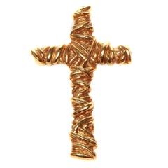 Christian Lacroix Gold Cross Brooch