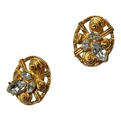 Christian Lacroix Gold Plate and Swarovski Crystal Clip On Earrings