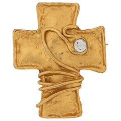 Christian Lacroix Gold Tone and Strass Cross Brooch