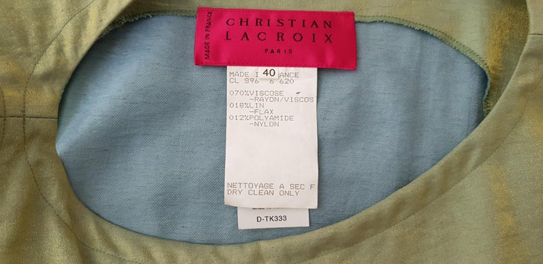 Christian LACROIX green top and artwork floral theme skirt- Unworn New with tags For Sale 9