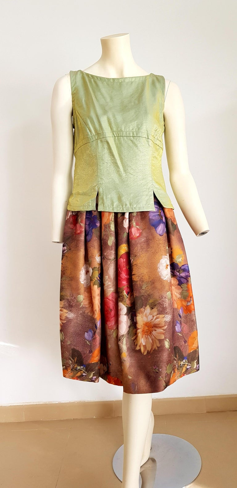 Christian LACROIX Haute Couture, single piece unique design, green with golden reflections the top, artwork floral theme the skirt, ensemble dress - Unworn, New with tags  SIZE: equivalent to about Small / Medium, please review approx measurements