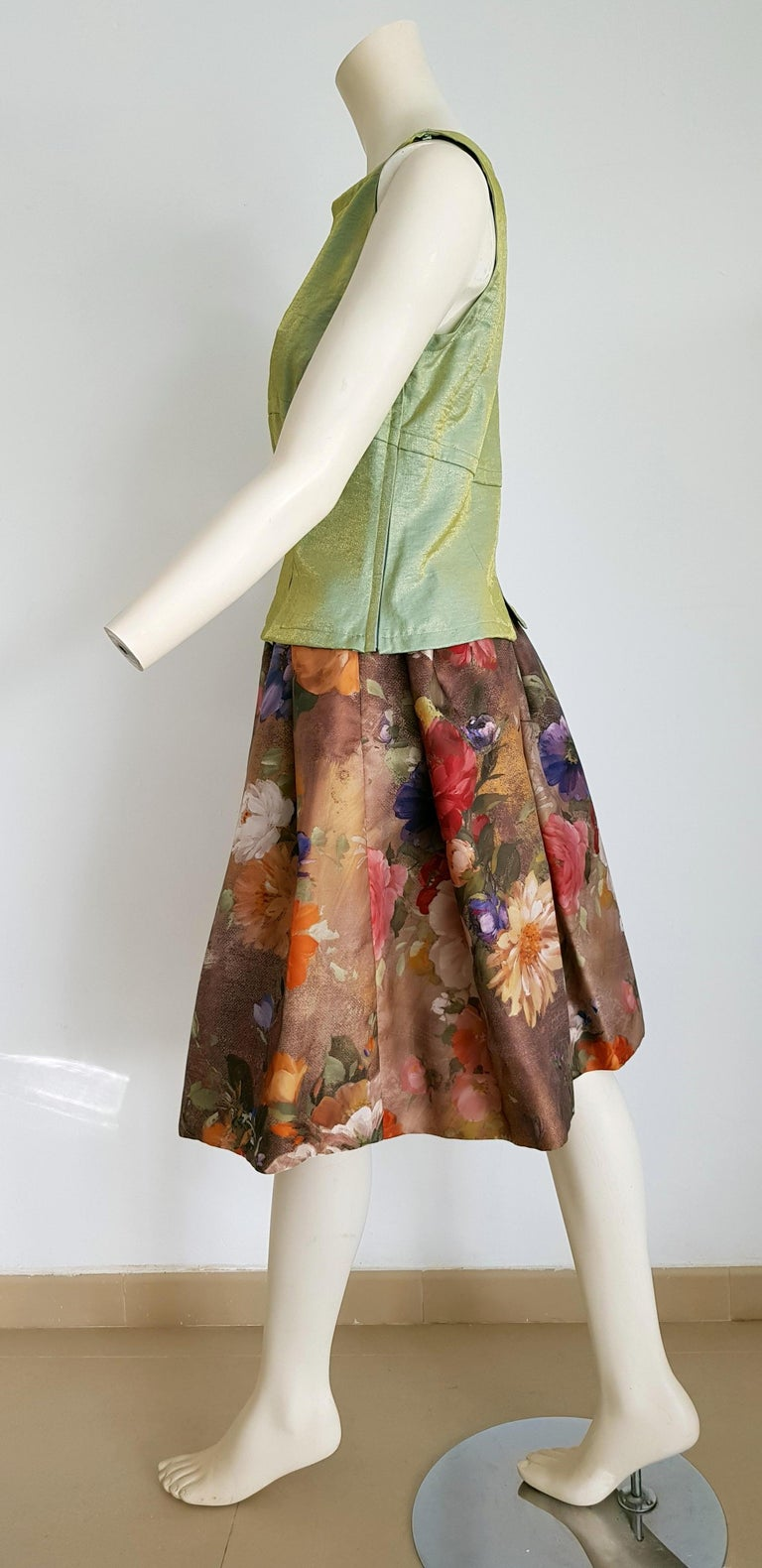 Brown Christian LACROIX green top and artwork floral theme skirt- Unworn New with tags For Sale