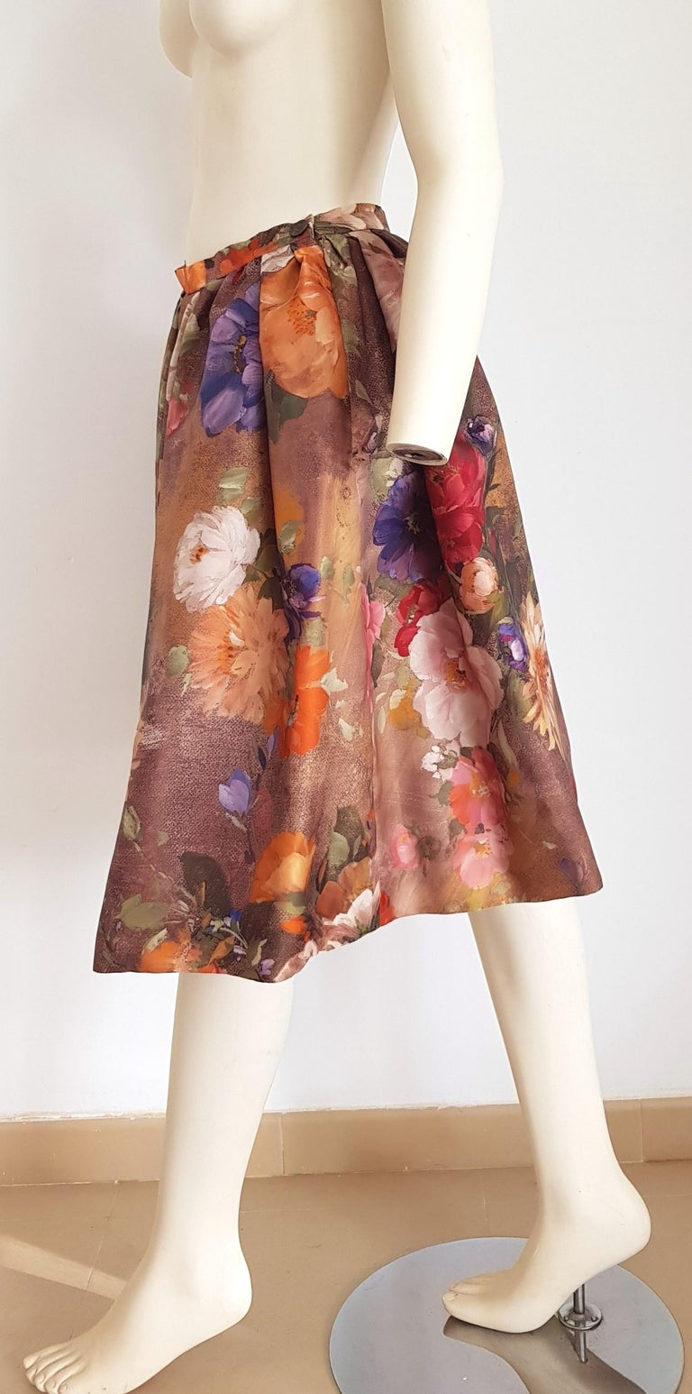 Christian LACROIX green top and artwork floral theme skirt- Unworn New with tags For Sale 1