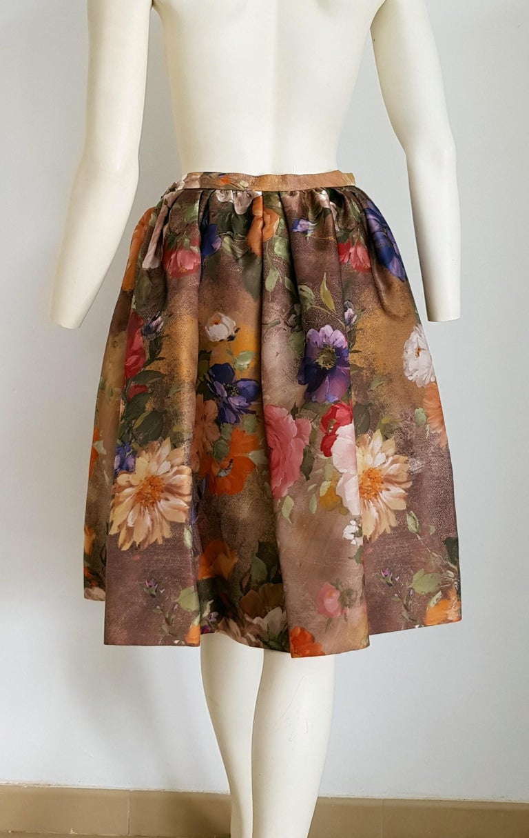 Christian LACROIX green top and artwork floral theme skirt- Unworn New with tags For Sale 2