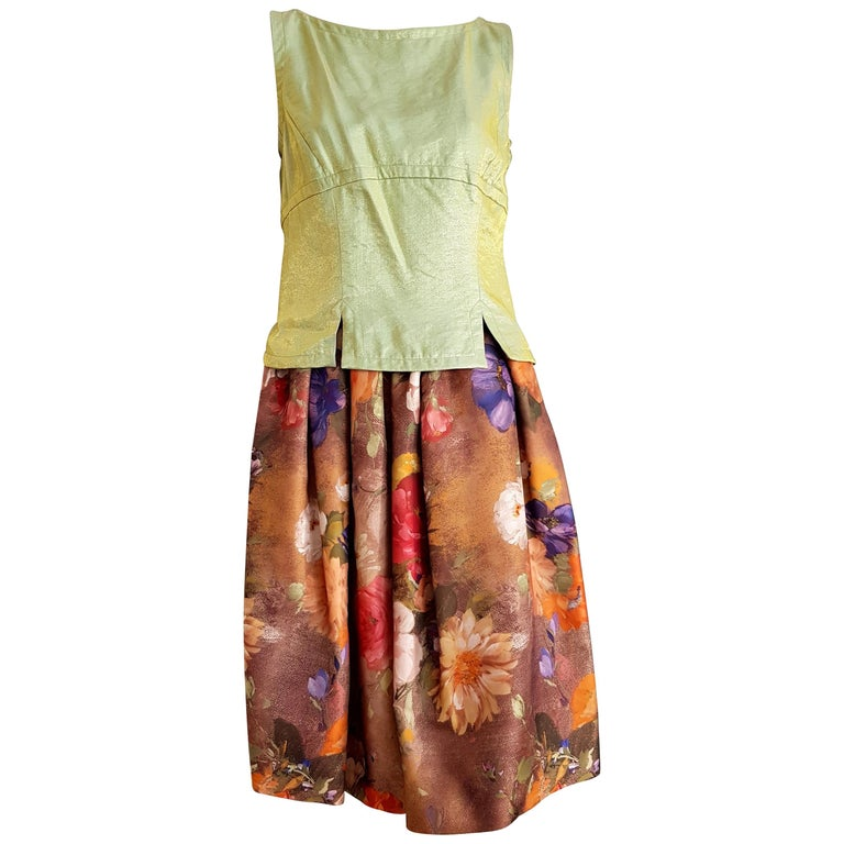 Christian LACROIX green top and artwork floral theme skirt- Unworn New with tags For Sale