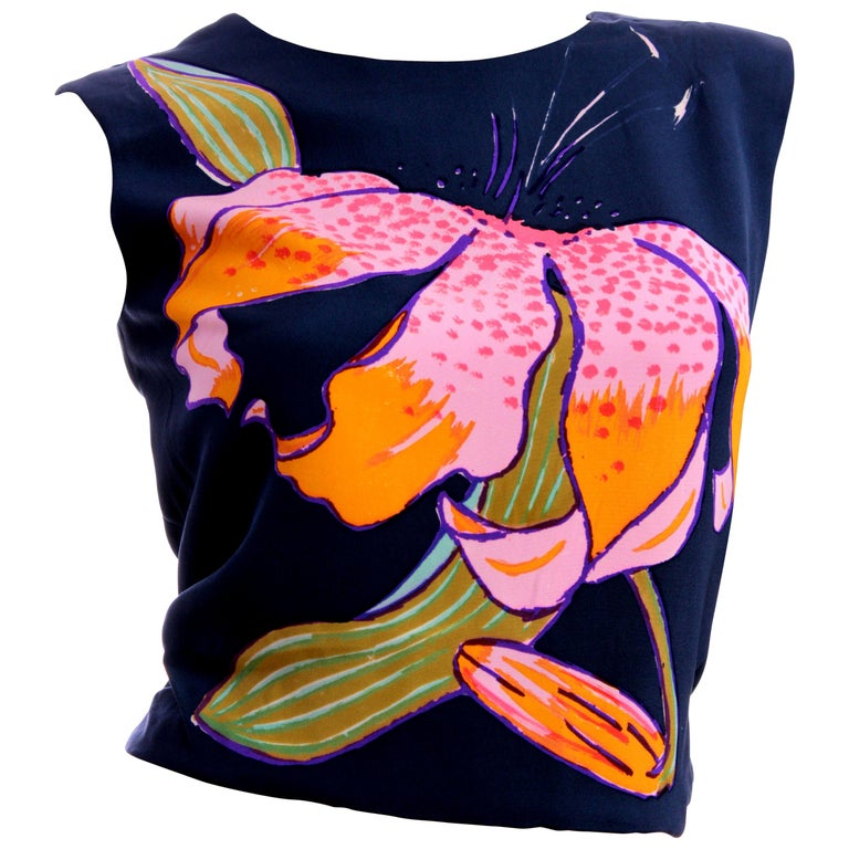 Christian Lacroix Haute Couture Hand Painted Lily Silk Blouse, 1990s  For Sale