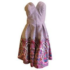 Christian Lacroix Haute Couture Souleiado Provençal Paisley Strapless Dress