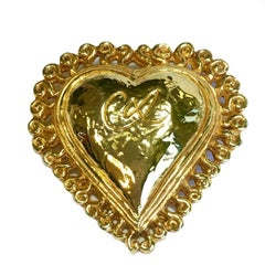 CHRISTIAN LACROIX Heart Brooch in Gilded Metal