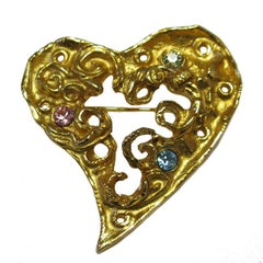 CHRISTIAN LACROIX Heart Brooch in Gilt Metal and Colored Rhinestones