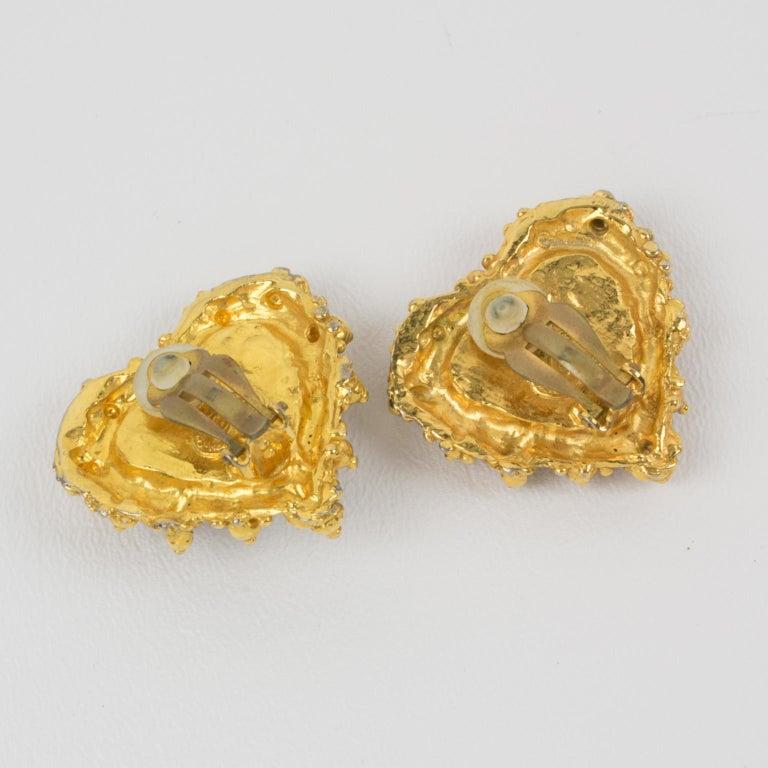 Women's or Men's Christian Lacroix Heart Clip Earrings Black Velvet For Sale