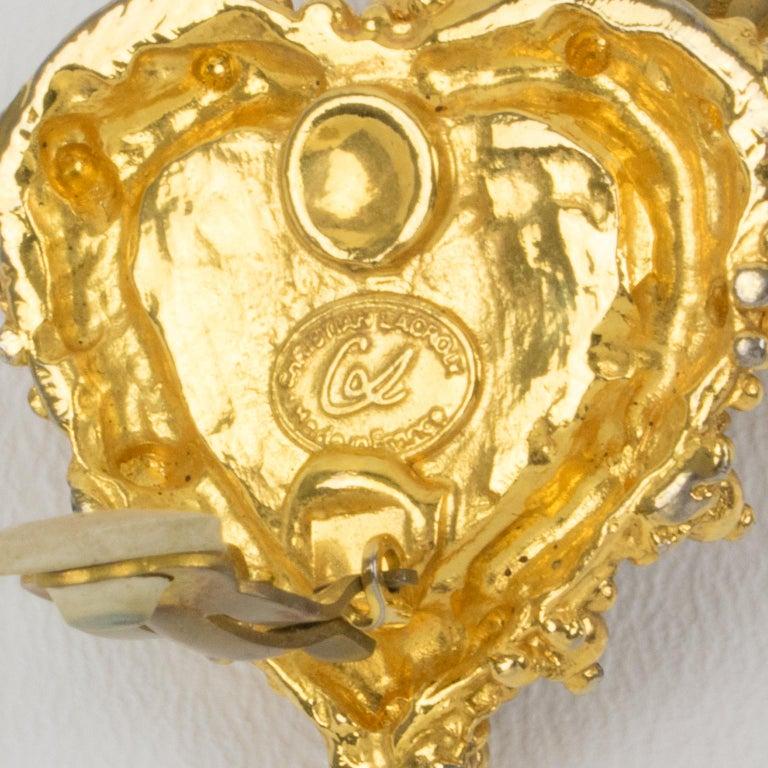 Christian Lacroix Heart Clip Earrings Black Velvet For Sale 1