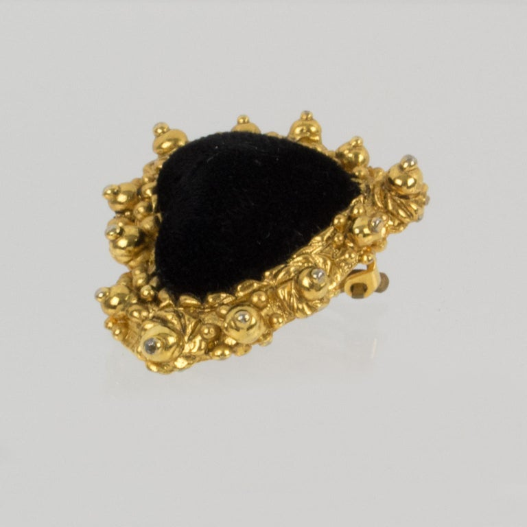 Christian Lacroix Heart Clip Earrings Black Velvet For Sale 2