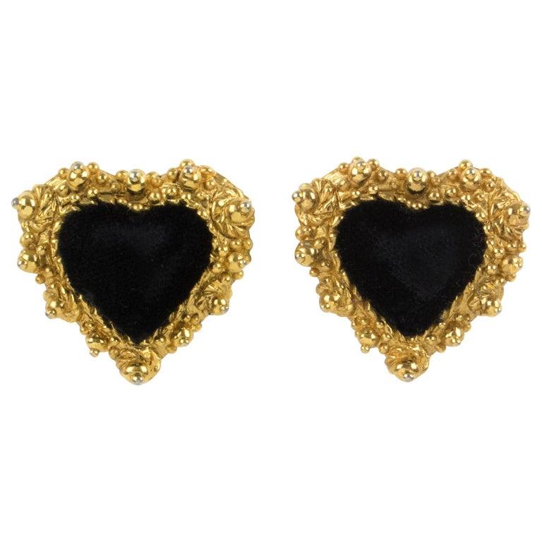 Christian Lacroix Heart Clip Earrings Black Velvet For Sale