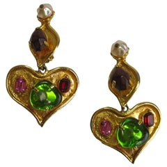 Christian Lacroix Heart Clip Earrings