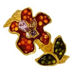 CHRISTIAN LACROIX Iridescent Flower Rhinestone Enamel Rigid Bracelet Cuff