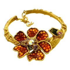 CHRISTIAN LACROIX Iridescent Flower Rhinestone Enamel Rigid Choker Necklace