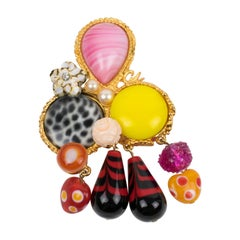 Christian Lacroix Jeweled Dangling Pin Brooch