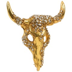 Christian Lacroix Jeweled Pin Brooch LongHorn Bull Head
