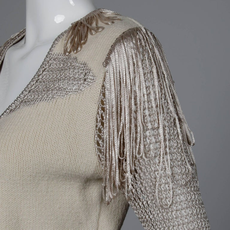 Christian Lacroix Knit + Crochet Fringe Cardigan Sweater Jacket or Top For Sale 2