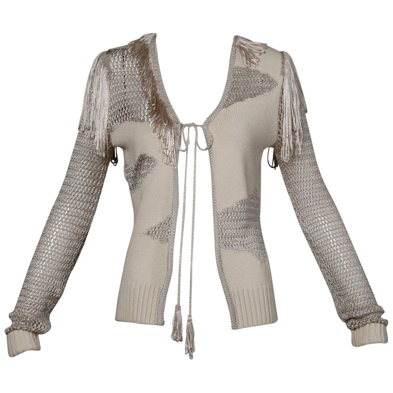 Christian Lacroix Knit + Crochet Fringe Cardigan Sweater Jacket or Top For Sale