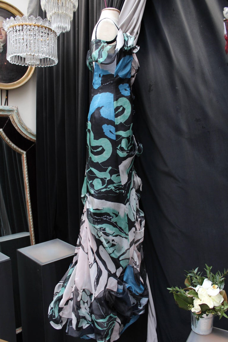 Black Christian Lacroix long flounced organza evening dress with abstract pattern prin For Sale