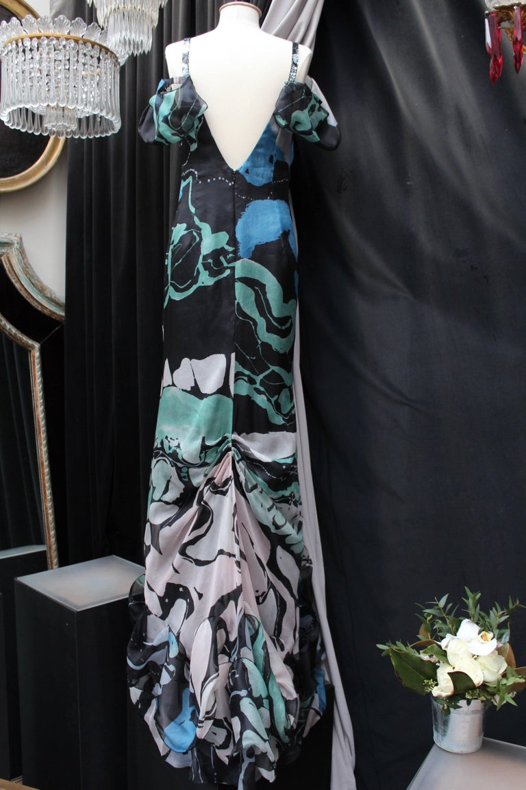 Christian Lacroix long flounced organza evening dress with abstract pattern prin In New Condition For Sale In Paris, FR