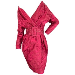 Christian Lacroix Luxe Collection Fall 1988 Vermillion Jacquard Belted Dress